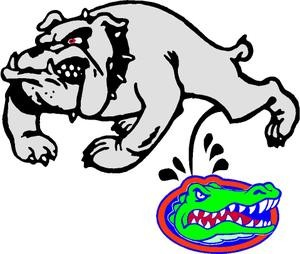 Ga dog peeing on gator